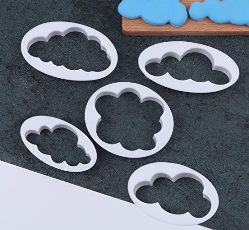 5 Piezas de Galletas Fondant Decorating Cloud Fondant Cake Cutter Molde Cake Decorated Fondant Tailor Tool, para Sala de Hornear, cafetería, cumpleaños o Pastel de Bodas