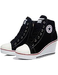 Reiverschluss NEU SNEAKERS Absatz Modische Schuhe schwarz Damen Turnschuhe