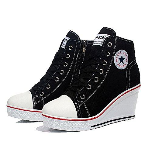 QIMAOO Damen Keilabsatz Schuhe Mädchen Canvas Sneaker Schuhe für Sport Freizeit, Schwarz, 40 EU