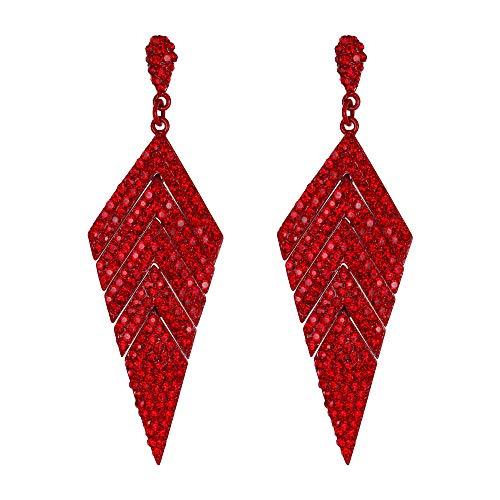 EVER FAITH Orecchini donna Cristallo Matrimonio Banchetto Multi-strati Rombo pendente perforato Orecchini Rosso Oro-fondo