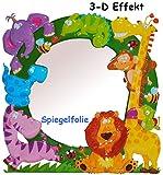 3-D Effekt _ Kinder Spiegel / Wandspiegel mit Spiegelfolie - ' Zootiere - Giraffe / Affe / Löwe ' - selbstklebend & wiederverwendbar - als Wandsticker / Wandtattoo - Pop Up - Kinderzimmer - die Wand - Baby / Babyspiegel - Spiegelaufkleber - Mädchen & Jungen - Kinderzimmerspiegel - Figur / Kinderspiegel - Baby-Spiegel / Fliesenspiegel - Tiere / Giraffen Zoo - Afrika - Wandbild