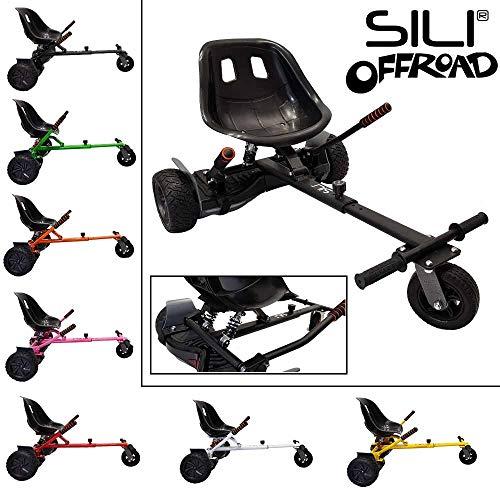SILI® Off-Road-Fahrwerk für 2-Rad-Self-Balance-Roller, verbessertes Design mit Federung unter dem Sitz (Schwarz)