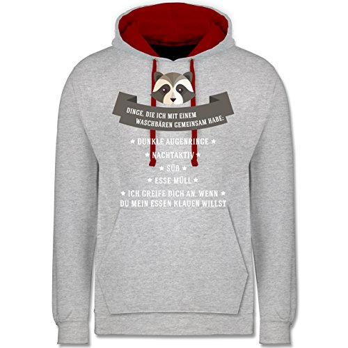 Statement Shirts - Waschbär Gemeinsamkeiten - Kontrast Hoodie Grau Meliert/Rot