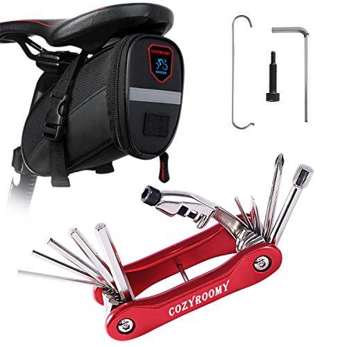 COZYROOMY Fahrrad Reparaturset - Reparatur Werkzeug Set mit 10 in 1 Multitool (Mit Kettenabscheider), Fahrrad Flicken,3 in1 Reifenheber, Satteltasche. 6 Monate Garantie (Roter 10-in-1-Werkzeugsatz)