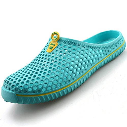 katliu Breathable Hausschuhe Clogs Pantoletten Sandalen Slippers Antirutsch Gartenschuhe Badeschuhe Strandschuhe Sommer Schuhe Damen Herren, Blau 38