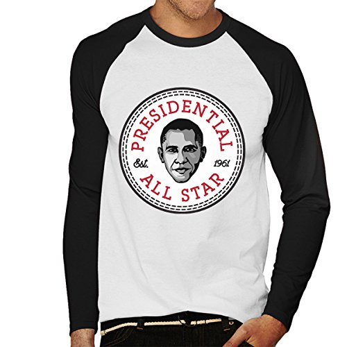 Barack Obama Presidential All Star Converse Logo Men's Baseball Long Sleeved T-Shirt (T-shirt Obama Weißes Barack)