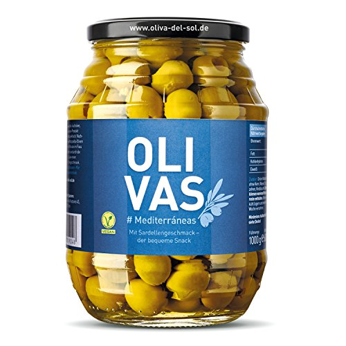 OLIVAS Mediterráneas / 600 g (Glas) * der praktische Snack mit Sardellengeschmack