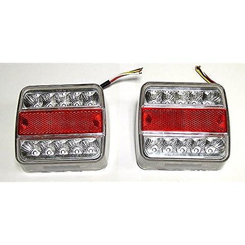 2x LED 12V faro luci posteriori per auto Caravan lampada luce lampeggiante E4ciondolo luce lampeggiante 4funzioni