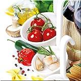 artissimo, Glasbild, 30x30cm, AG2056A, Bella Italia II, Küchenbild, Pasta, Bild aus Glas, Moderne Wanddekoration aus Glas, Wandbild Wohnzimmer modern