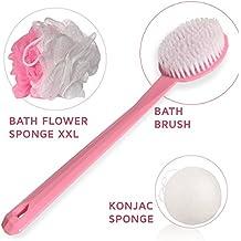 Encantador Set de Baño de regalo para mujeres Incluye una Cepillo de Cuerpo, Esponja exfoliante de malla de nylon de Baño/ducha y esponja Konjac, Set de cuidado para la piel Ideal como regalo – Rosa