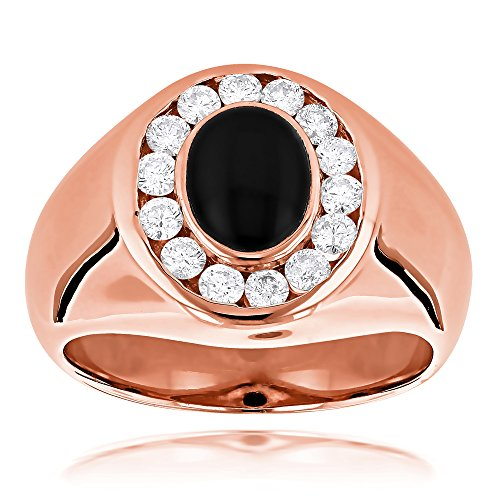 Herren Diamond Wedding Ring Black (Luxurman 14k Unique Mens Dainty Diamond Black Onyx Ring For Him (Rose Gold Size 6))