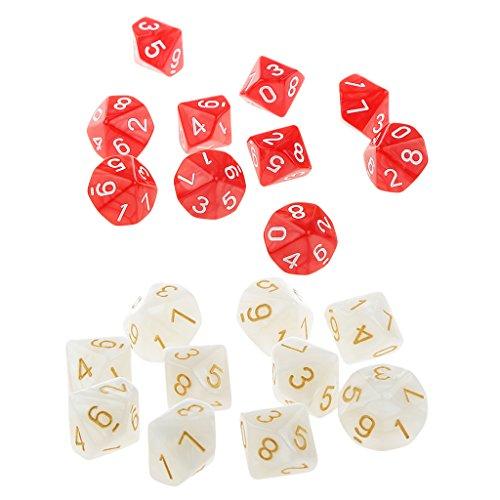 10 Acryl Würfel Set 22mm Tischkarte Spiel Requisiten Für Dungeons \u0026 Dragons - Rot und weiß ()