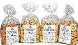 Paquete con 4 Taralli di Puglia | Producto horneado ideal para snacks. El paquete contiene taralli con aceite de oliva, con semillas de hinojo, con cebolla y 'Pizzaiola' | Producto hecho a mano