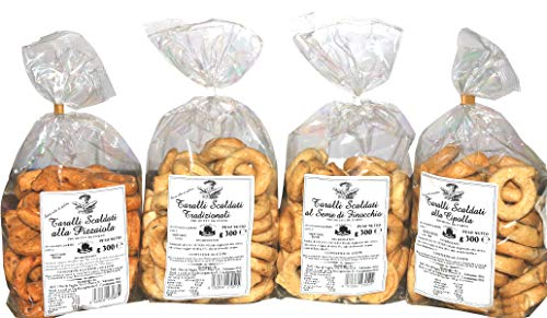 4 Pacchi Taralli Scaldati di Puglia | | Prodotto da forno ideale per snack | Vi proponiamo: taralli all'olio, al seme di finocchio, alla cipolla e alla pizzaiola | Prodotto artigianale