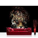 Fototapete 368x254cm PREMIUM Wand Foto Tapete Wand Bild Papiertapete - Tiere Tapete Jaguar Leopard Raubkatze bunt - no. 3257