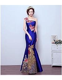 e71a167e66 YL LY Vestido de Noche Elegante del Bordado del Hombro Delgado Vestido  Largo del Banquete
