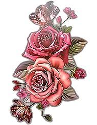 Merssavo Tatouages temporaires pour l'art corporel Tattoo Sticker Motif 3D Fleur Rose