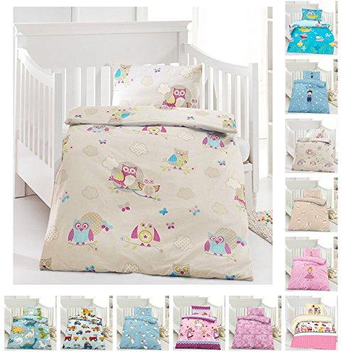 Kinder Bettwäsche, Babybettwäsche 100x135 cm + 40x60 cm 100% Baumwolle in verschiedenen Designs, Eule Creme