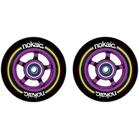 Pack de dos ruedas NOKAIC para patinetes scooters de 100mm núcleo aluminio lila/morado y goma negra