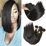 3 Paquets De Tissage Des Cheveux Droits Péruviens 100% Cheveux Naturels Extensions Tissée Couleur Naturelle 300g 8 10 12 inch