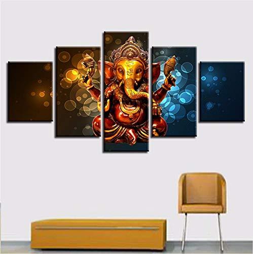 LTTGG frameless Modular Poster Bilder5 Stücke Elefant Stamm Gott eine Leinwand Gemälde Dekor Home Wohnzimmer Wand HD Kunstdrucke