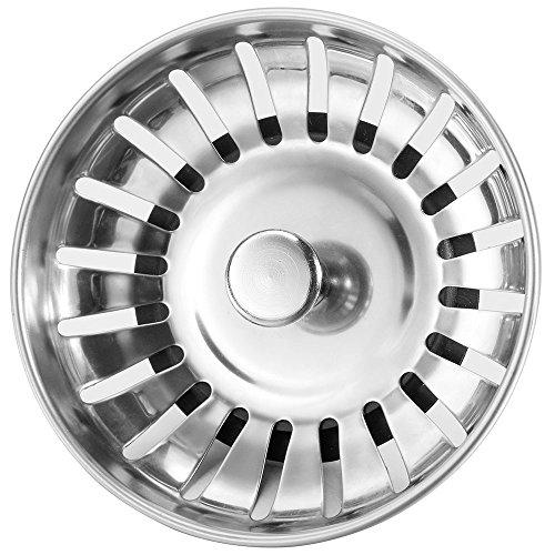 Anpro Edelstahl Küchenspüle Sieb Abflusssieb Küchenspüle Stopper Siebkörbchen mit Zapfen (20 Schlitze) für Stopfenbedienung 78mm, EINWEG