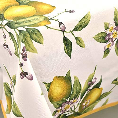 Manifattura Toscana Tovaglia Panama Limoni di Positano - Giallo, Ovale x8