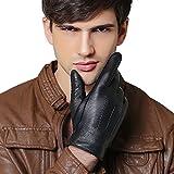 QGhappy Männer Winter Handschuhe Warm Touchscreen Lammfell Driving Lederhandschuhe - Schwarz