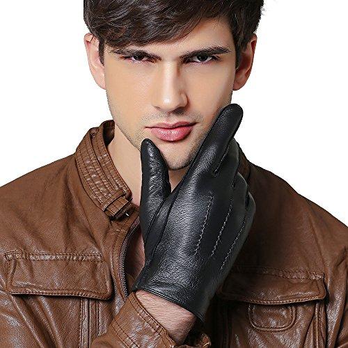 QGhappy Männer Winter Handschuhe Warm Touchscreen Lammfell Driving Lederhandschuhe (Kaschmir Futter) - Schwarz