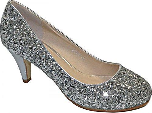Elara Damen Pumps | Bequeme Strass High Heels | Hochzeits Glitzer Stiletto B-39-Silber-41