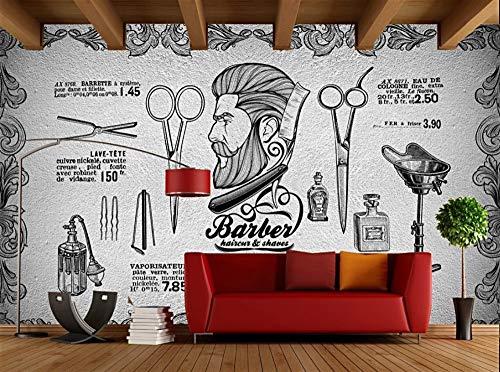 Fondo ecológico de la belleza de la peluquería de caballeros del vintage del papel pintado de la personalidad de la moda de encargo, los 250 * 175cm