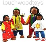 black dolls house family figures ethnic black wooden dolls house family