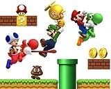 Kinderzimmer Wandaufkleber Super Mario Bros Luigi Dekoration Sticker 70x50cm