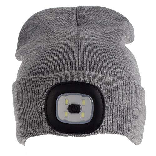 Smartfox LED Strickmütze Wintermütze Beanie in grau für Damen Herren dimmbar, waschbar, Licht aufladbar über usb