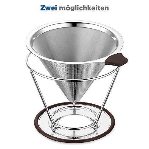 Ecooe Zwei Möglichkeiten Kaffeefilter Edelstahl Handfilter Permanentfilter Geeignet für 1 bis 4...
