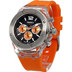 TIME100 Multifunction Silicone Orange Strap Fashion Sport Couple Watch (For Men) #W70034G.03A