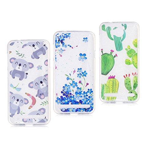 Huawei Y3 II hülle, Schützende Weiche Voller Körper 360 Grad TPU Gel Transparentes Silikon handyhülle für Huawei Y3 2 Autoabdeckungen Clear Case [Koala+Blume+Kaktus ]