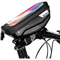 SKYSPER Bolsa Bicicleta Manillar para Ciclista Ciclismo Soporte Movil Bicicleta Bolso Tubo Impermeable con Pantalla Táctil Funda Móvil Bici para iPhone, Samsung y Otros Smartphones hasta 6,5''