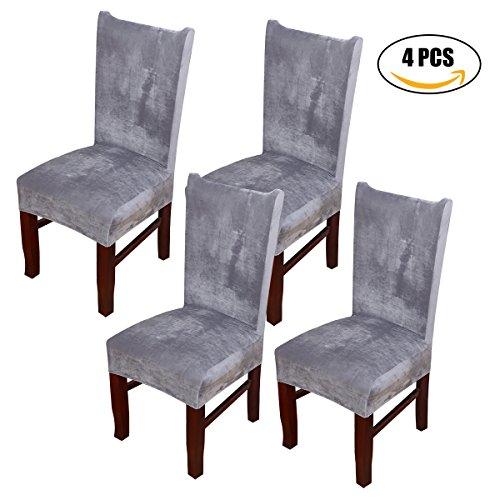 Stuhlabdeckung Dewel Universal Stretch Fox Stapel Stoff Esszimmerstuhl Bezüge elastischen Stuhl Protector (Grau)