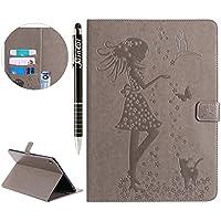 iPad Pro 9.7 Hülle,SainCat iPad Pro 9.7 Mädchen und Katzen Muster Ledertasche Brieftasche im BookStyle PU Leder... preisvergleich bei billige-tabletten.eu