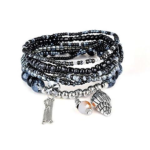 RareLove Bohemian Black Grey Beaded Bracelet Stretch Wrap Bangle With Charms Seashell Dangle Layered