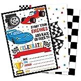 WERNNSAI Inviti di Auto da Corsa con Buste - Set di 20 Articoli per Feste da Corsa per Ragazzi Compleanno Baby Shower Carte da Invito di Auto