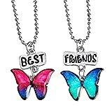 """Housweety 2 Pcs Collier d'Amitié Forever Collier Best Friend Pendentif Deux Papillons Colorés Imprimés """"Best Friends"""" pour Femme Fille"""
