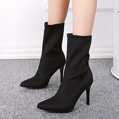 Rtry Femmes Chaussures Tissu Cadono Confort Bottes Talon Stiletto Mi-mollet Bottes Pour Partie Informelle Et Amp; Soir Noir Noir Us5.5 / Eu36 / Uk3.5 / Cn35 Us7.5 / Eu38 / Uk5.5 / Cn38