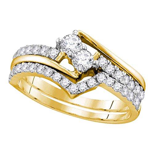 Diamond2Deal Herren Unisex Damen - 10 K Gelbgold (10 Karat) Rund Leicht Getöntes Weiß/Top Crystal (I) Diamant