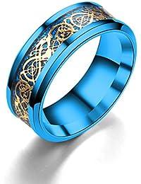 Dalaran anillos de acero inoxidable para hombres mujeres Celtic banda de dragónes multi-Style 8mm banda boda anillo de fiesta