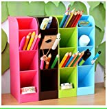 #3: MosQuick Plastic Office Desktop Storage Box, pen pencil stand / holder stationary organiser , remote control holder , cutlery holder and more blue