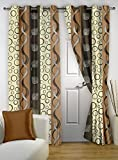 """Story@Home Eyelet Fancy Polyester 2 Pc COMBO Ringtop Eyelet Designer Door Curtains,  7 ft  46 """" X 84 """" Coffee"""