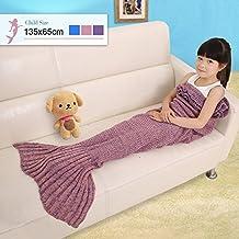 Cloud-Castle Kinder Meerjungfrau Decke Gestrickte Schwanz Kuscheldecken Schlafsack Decke für Mädchen , Super Geschenk für Kinder (Rosa)