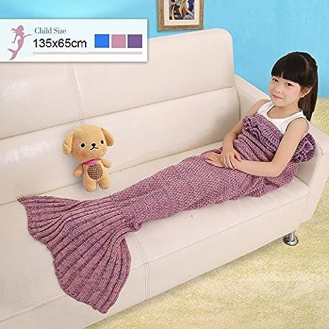 Cloud-Castle Enfant Mermaid couverture tricotée queue de sirène Sofa Sac de couchage 135cm x 65cm (Rose)